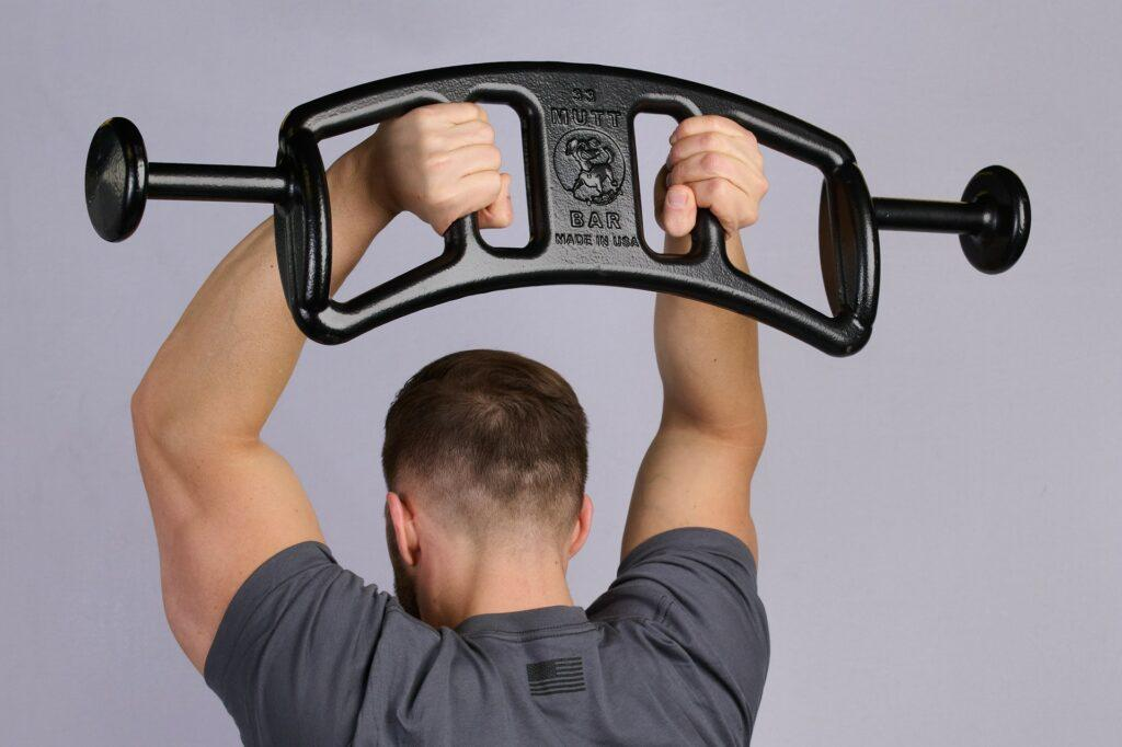 Ending Position of Tricep Extension with 33lb MUTT Bar - MUTT Made in USA