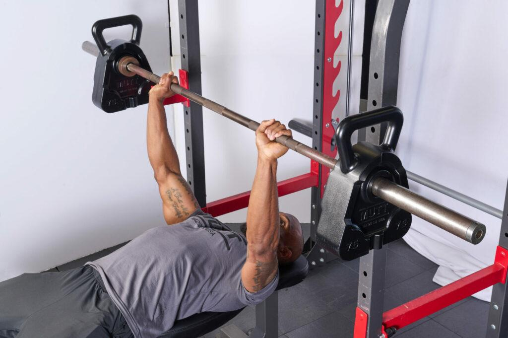 Bench Press with 75lb MUTT Cowbell - MUTT Made in USA