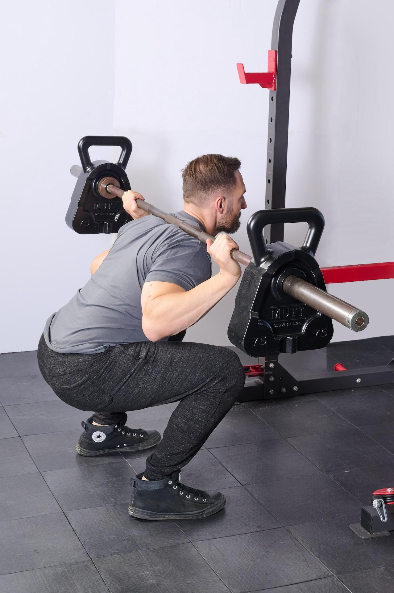 Squats with 75lb MUTT Cowbell - MUTT Made in USA