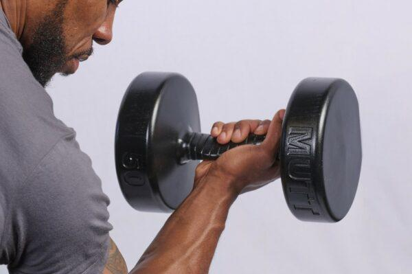 Concentration Curls with 50lb MUTT Dumbbell - MUTT Made in USA