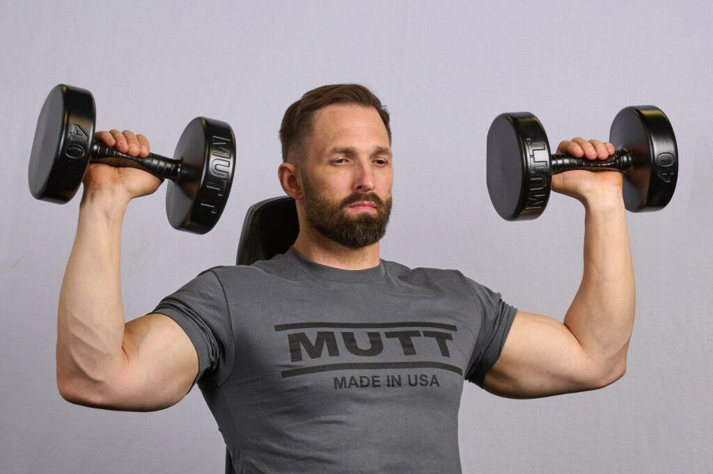 Overhead Press with 50lb MUTT Dumbbell - MUTT Made in USA
